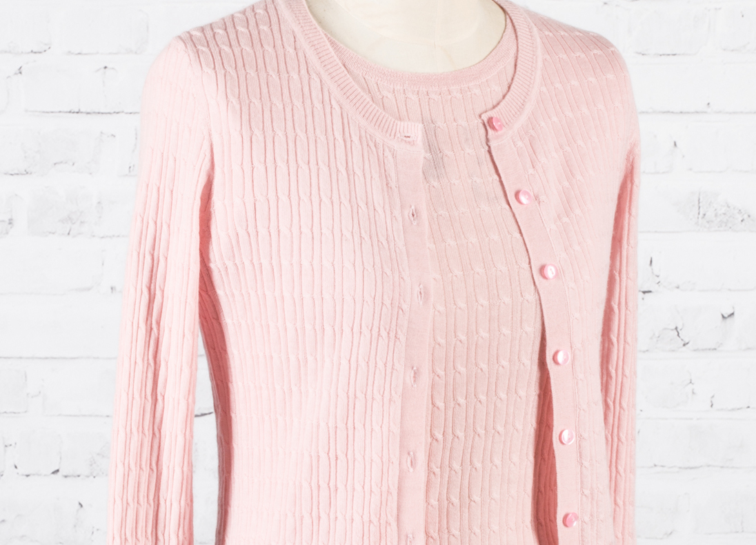 SFL_H1401B_Worsted Cable Knit Cardigan w: Button_SFL-H1408B_Worted crew neck short sleeves cable knit top_pink copy