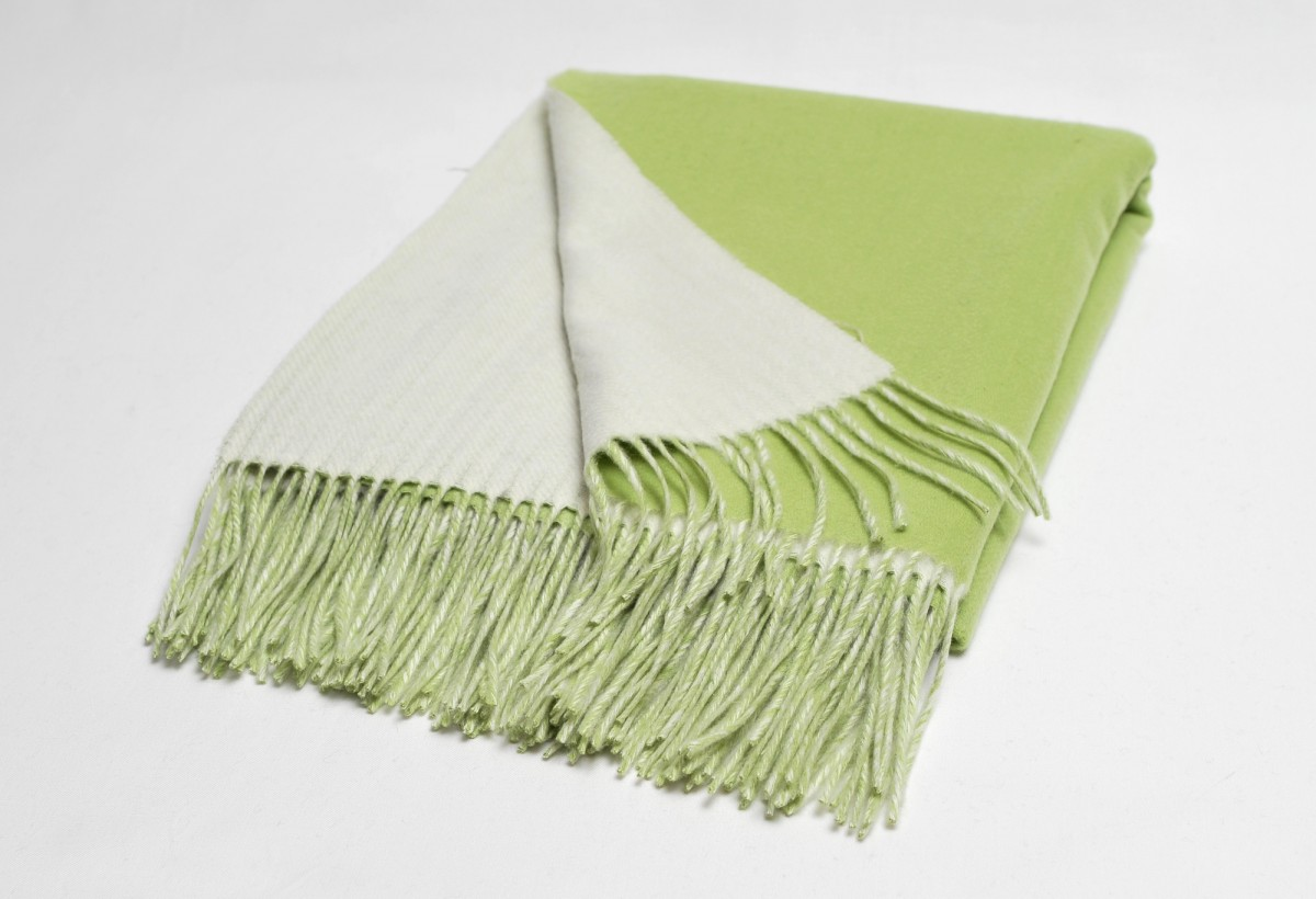 Green ivory double faced throw