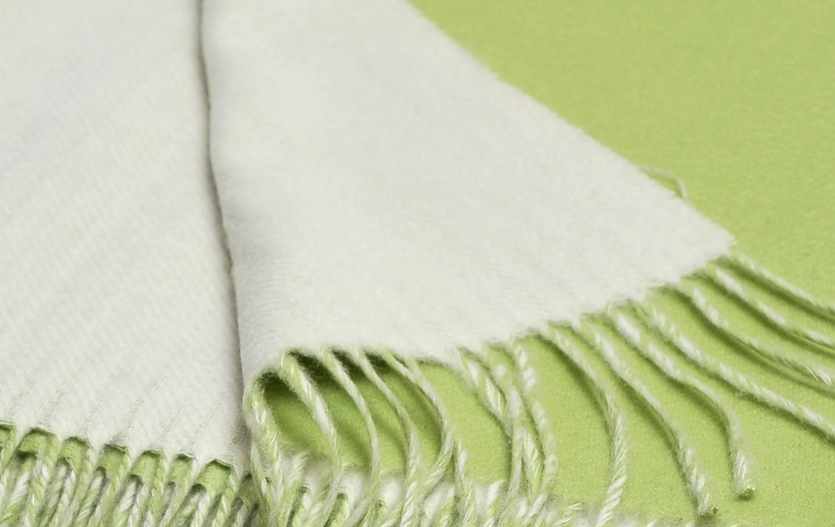 Green ivory double faced throw copy