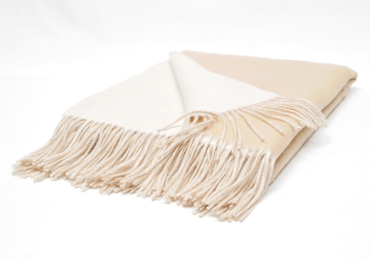 camel ivory double faced throw