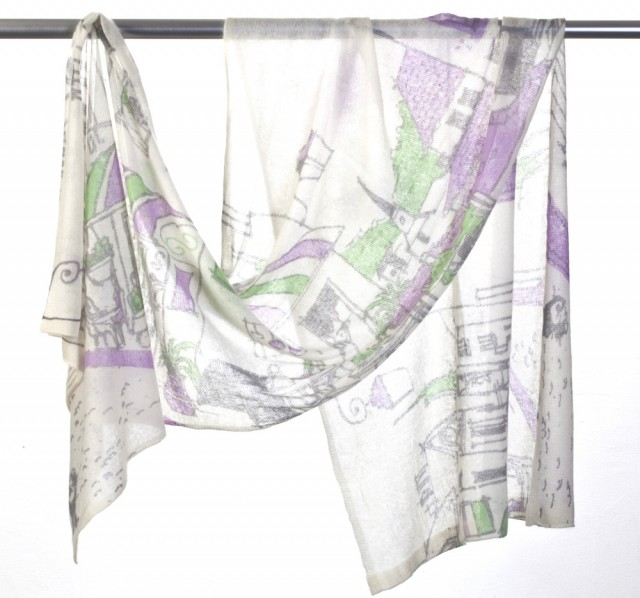 SFL-A102S-PS_Cashmere Shawl with French Town Print copy 2